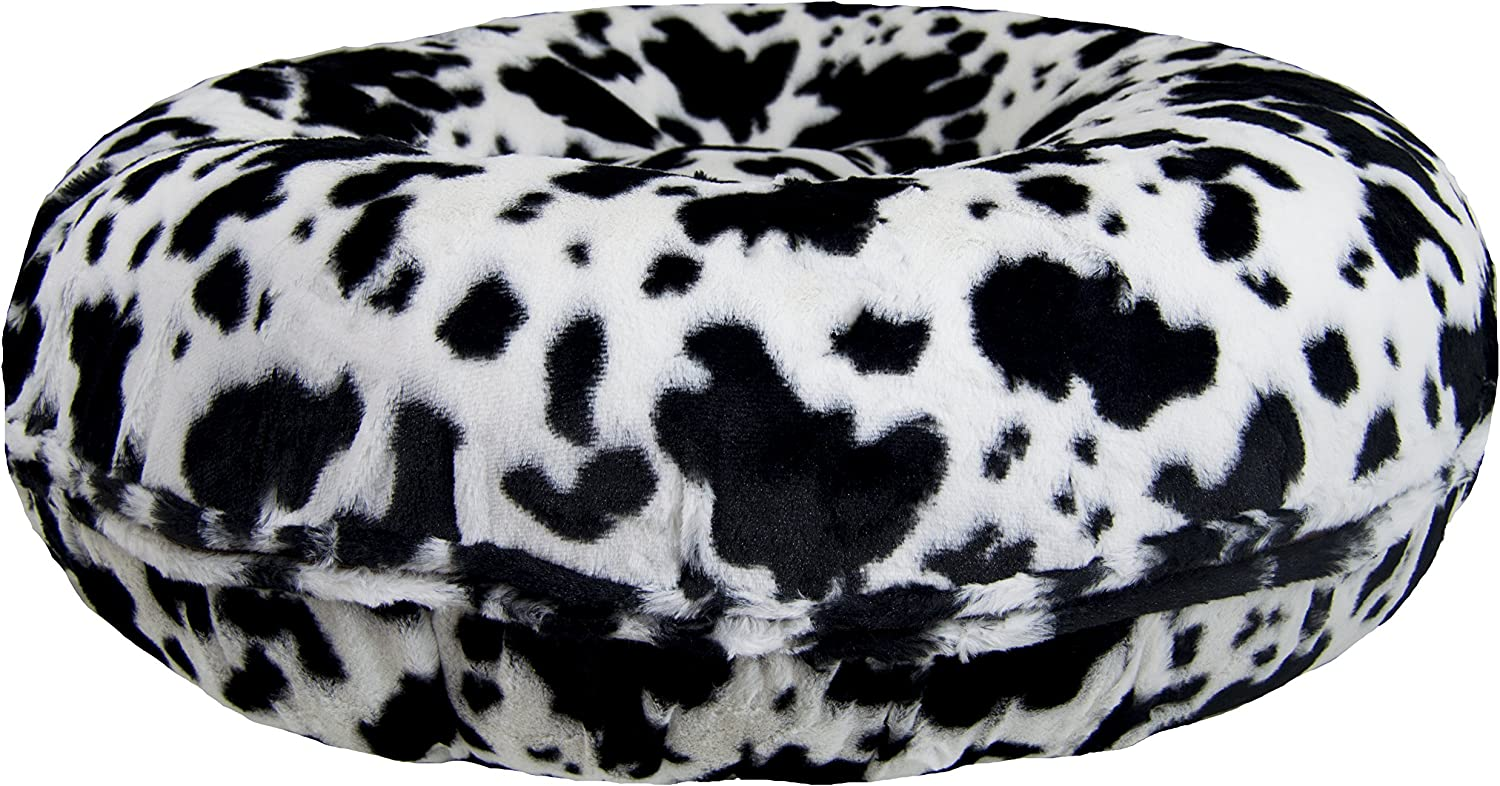 BESSIE AND BARNIE Signature Spotted Pony Luxury Extra Plush Faux Fur Bagel Pet Dog Bed (Multiple Sizes)