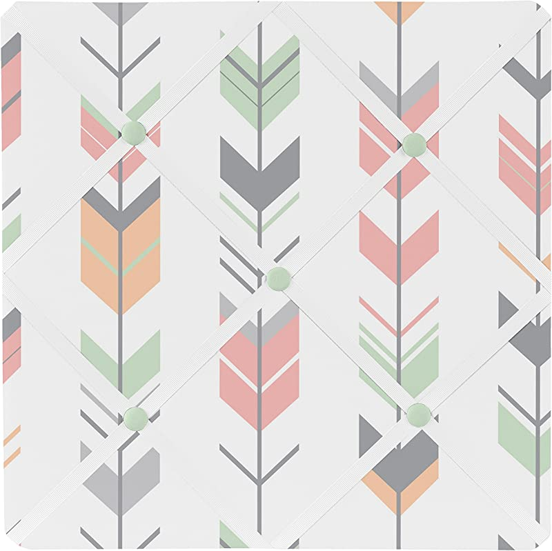 Sweet Jojo Designs Grey Coral And Mint Woodland Arrow Fabric Memory Memo Photo Bulletin Board