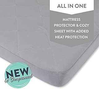 Waterproof Cotton Quilted Pack n Play Sheet | Mini Crib Sheet | New Revised Fit with Added Heat Protection |All in one Mattress Pad Cover and Cozy Sheet, Grey by Ely's & Co