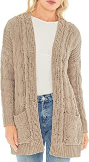 Sponsored Ad - Love Tree Women's Matt Chenille Cable Knit Cardigan Sweater with Pockets - Chunky Loose Oversized Fit Cardigan