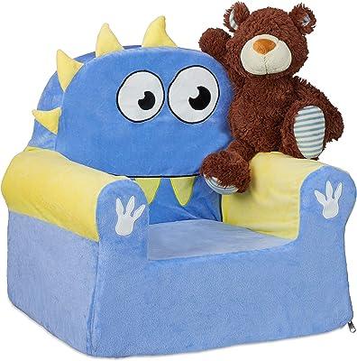 Relaxdays Fauteuil pour Enfant Motif Monstre Bleu/Jaune 47 x 52 x 37 cm, 1