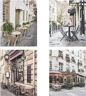 Dashleigh Paris Cafe Photography Prints, Cardstock Unframed, Set of 4 Prints, in Vertical Portrait (8 x 10)