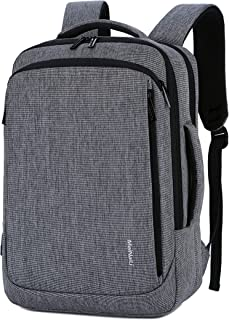 Convertible Laptop Brifcase Backpack with USB Charging Port Fits Laptop up to 15.6, Unisex Computer Backpack Bag for Travel,Business and School Made of Water Resistant Nylon (Grey)