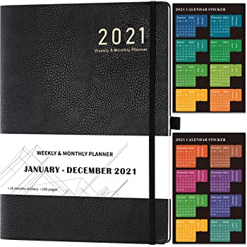 2021 Diary –Diary 2021 A4 Week to View from January 2021 to December 2021 with Stickers, Leather Cover, Thick Paper, Inner Pocket, 210x297mm, Black