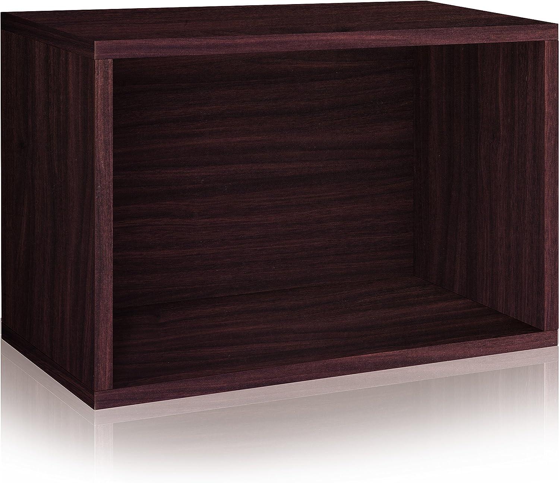Way Basics WB-SRECT-EO Stackable Large Rectangle Shelf and Storage Organizer, Espresso