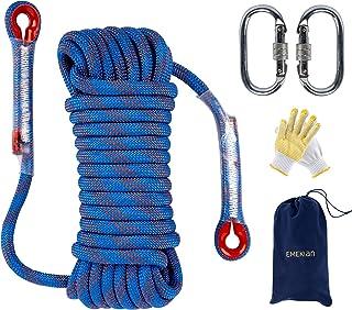 EMEKIAN 10mm / 12mm Outdoor Climbing Rope, 10M(32ft) 15M(49ft) 20M(65ft) 30M(98ft) Static Rock Climbing Rope for Escape Ro...