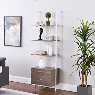 Ohuhu 3-Tier Industrial Bookshelf with Wood Drawers and...