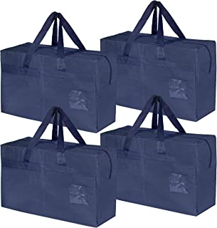 Storite 4 Pack Multipurpose Big Storage Bag for Clothes Organiser, Toy Storage Bag, Stationery Paper Storage Bag with ID Window & Zipper Closure (Blue,55.5 x 26.5 x 35.5 cm)