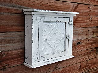 Distressed French country Essential Oil medicine cabinet, With Authentic metal tin door, french country cottage chic distressed white cream color home decor by farmhousefurnituretx