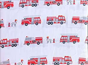 Authentic Kids 3pc Size Sheet Set Red Fire Trucks Ladders on White Dogs Dalmatians Hydrant Single Bed Cotton Sateen