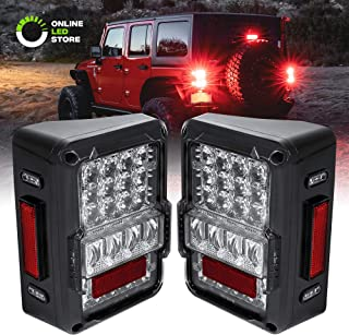 Clear Lens Jeep Wrangler LED Tail Light [Matrix Design] [DOT Approved] [Plug n Play] IP67 Waterproof Brake Lights for 2007-2018 Jeep Wrangler JK & Unlimited - Pair