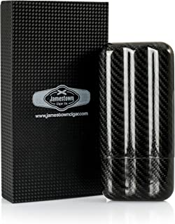 Jamestown Cigar Monte Carlo Carbon Fiber Travel Cigar Case - Premium, Genuine Carbon Fiber Construction - Durable, Sleek and Compact Design - Adjustable Length Holds Up to 3 Full Size Cigars