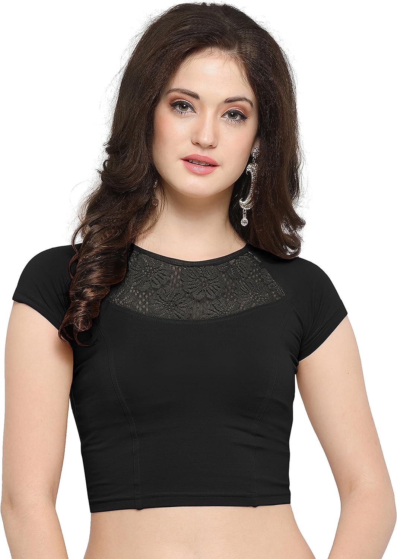 Janasya Women's Cotton Lycra Stretchable Readymade Blouse