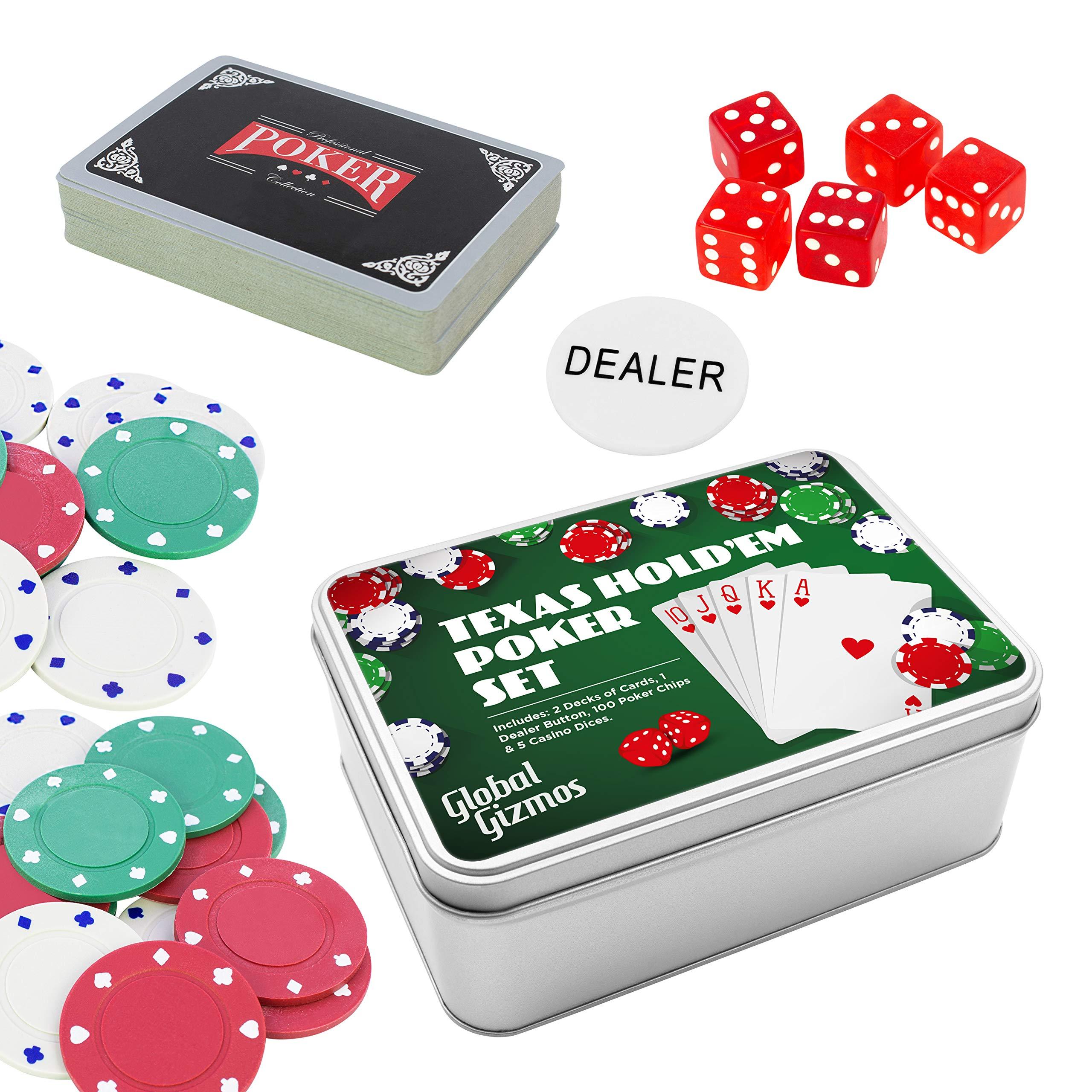 Global Gizmos 56050 Texas Holdem - Juego de póquer para regalo, varios colores , color/modelo surtido: Amazon.es: Juguetes y juegos