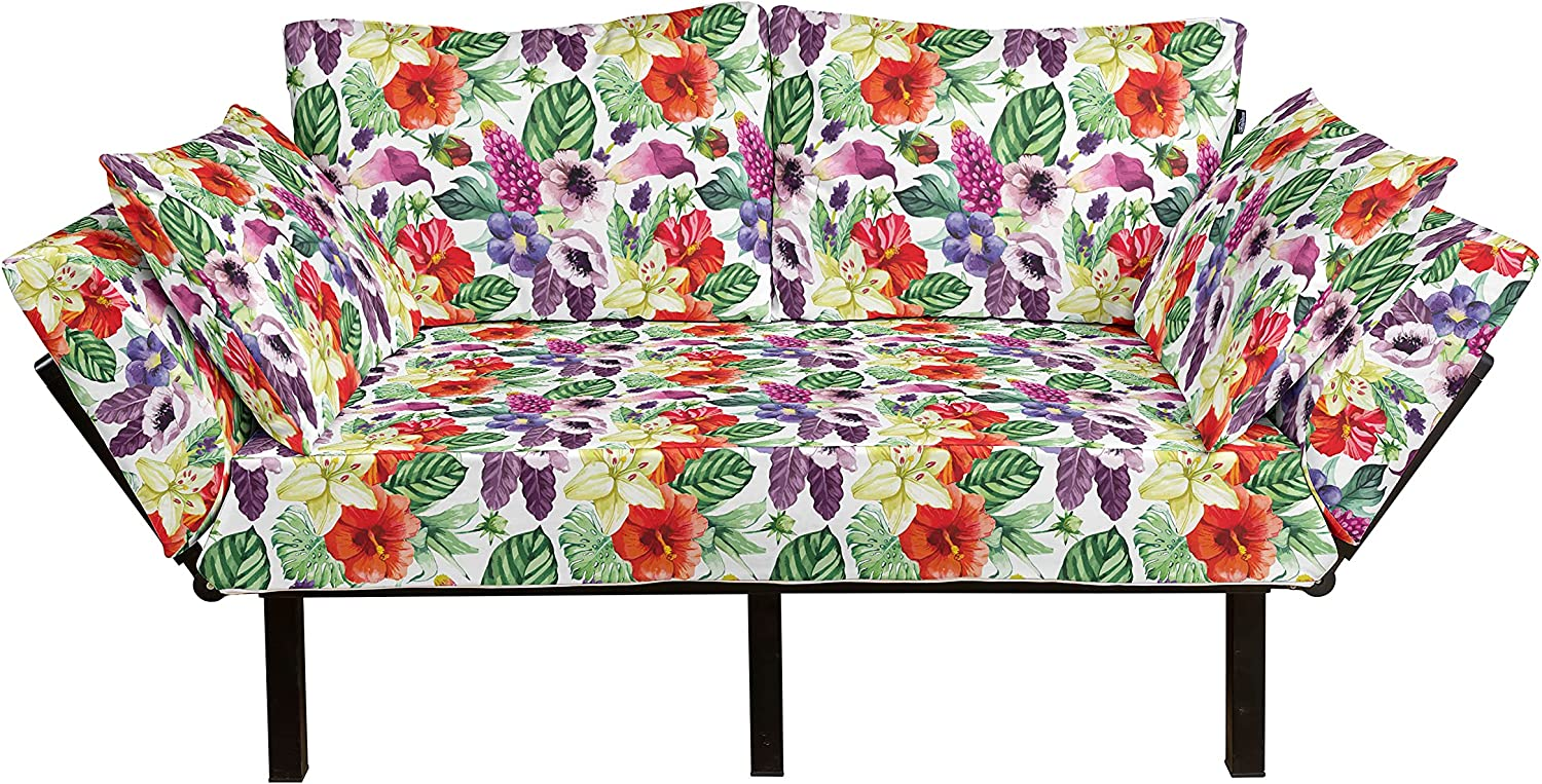 Ambesonne Watercolor Futon Couch Special price Max 77% OFF Variou Pattern Flower Tropical