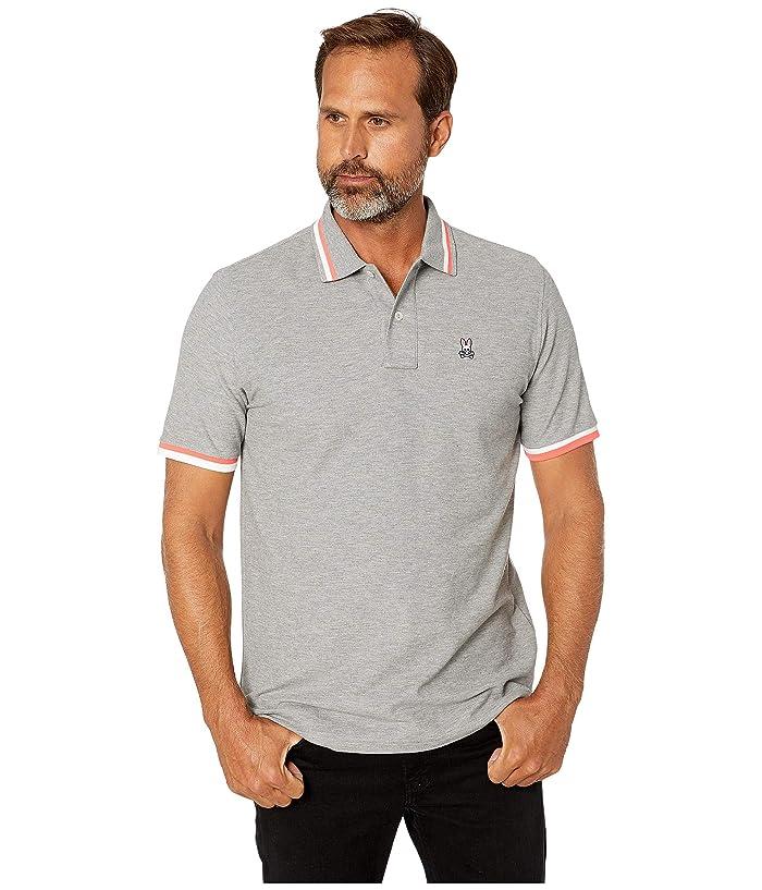 Psycho Bunny Men/'s Heather Grey Embroidered Camo Logo Pima Cotton Polo Shirt