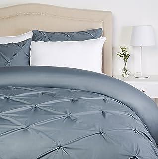 Pinzon Parure de lit plissée - 240 x 220 cm - Étain