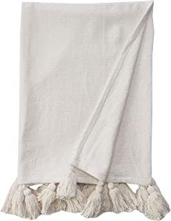 Mud Pie Woven Tassel White Throw Blanket