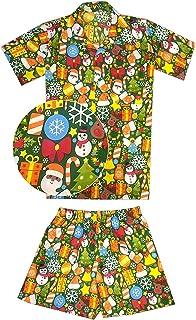 Virgin Crafts Juego de 2 Camisetas de Papá Noel para niños y niñas, diseño de Cabana de Navidad