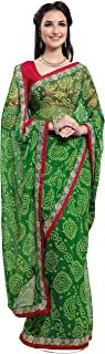 Jaanvi fashion Women's Chiffon Bandhani Printed Saree with Lace and Blouse PieceWith Unstitched Blouse