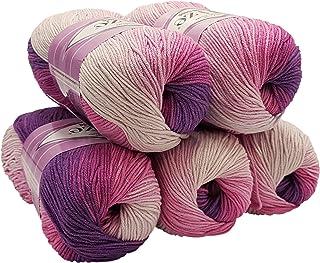 Alize Cotton Gold Lot de 5 pelotes de 100g de laine à tricoter 55 % coton, 500 g, Multicolore avec dégradé de couleur