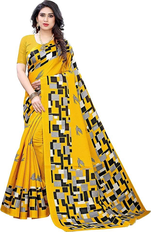 Indian Yashika Women's Art Silk Saree With Blouse Piece(SQUARE BIRD_Free Size) Saree