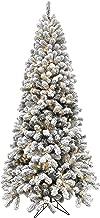 Fraser Hill Farm 7.5-Ft. Flocked Alaskan Pine Clear LED String Lighting Artifical Christmas Tree, Snow