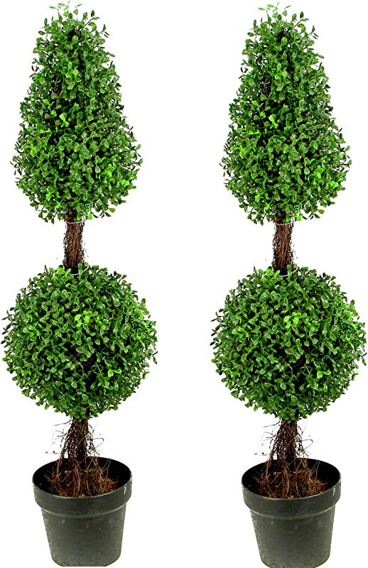 Admired By Nature 3 Artificial Boxwood Leave Double Ball Shaped Topiary Plant Tree In Plastic Pot Green Two Tone Set Of 2