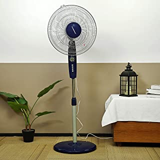 Olsenmark Stand Fan, 16 Inch - Piano Button Switches, 3 Speed Settings - 5 Leaf ABS Transparent Blades - Adjustable Height...