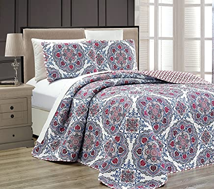 featured product Fancy Collection 3 pc Bedspread Bed Cover Modern Reversible White Red Burgundy Navy Blue Light Blue New # Linda Red (Full/Queen)
