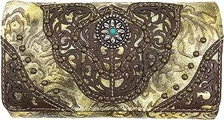 Zelris Women Western Floral Damask Pattern Medallion Crossbody Wrist Trifold Wallet (Beige)