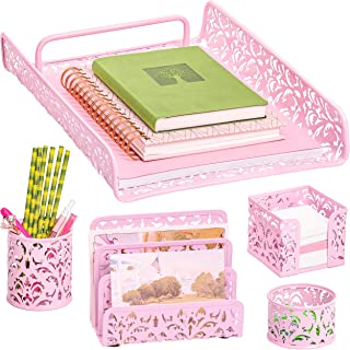 Pink 5-Piece Metal Desk Accessories, Desk Organizer & Desk Decor Set, Cute Office Decor Provides Great Office Organization for Women or Room Decor for Teen Girls