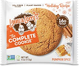Lenny & Larry's The Complete Cookie, Pumpkin Spice, Soft Baked, 16g Plant Protein, Vegan, Non-GMO, 4 Ounce Cookie (Pack of...