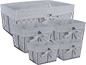 DII COMINHKPR132581 Vintage Chicken Wire Baskets for Storage Removable Fabric Liner, Assorted Set of 5, Stripes, 5 Piece