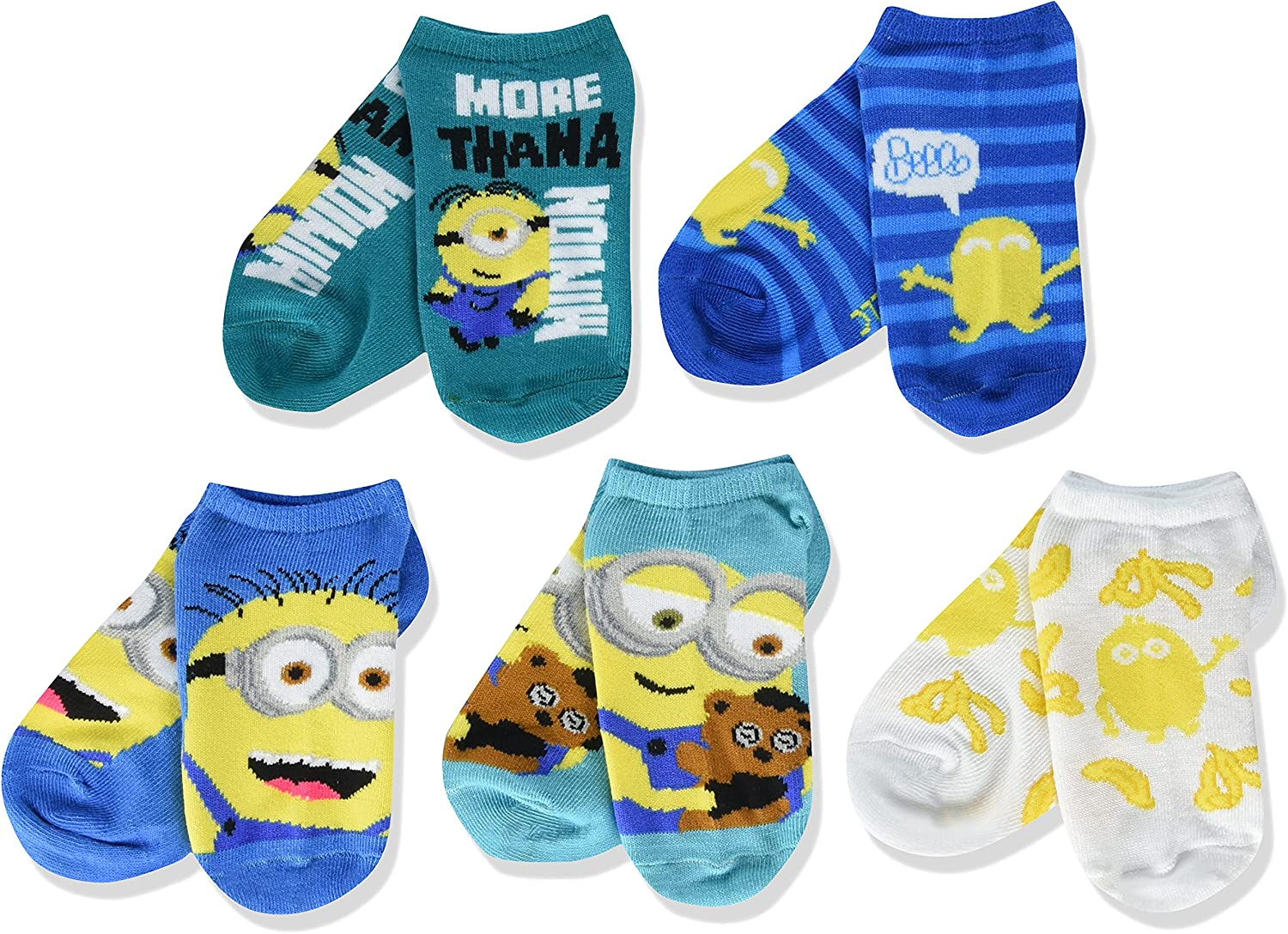 Despicable Me girls Minions 5 Pack No Show Socks