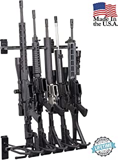Hold Up Displays –Slatwall 6 Gun Rack and Rifle Storage Holds Winchester Remington Ruger Firearms and More - Heavy Duty Steel - Made in USA