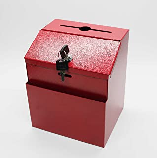"FixtureDisplays Red Box, Metal Donation Suggestion Key Drop 7"" x 8.4"" x 5.5"" Express Checkout Comments Sales Lead Box 1111..."