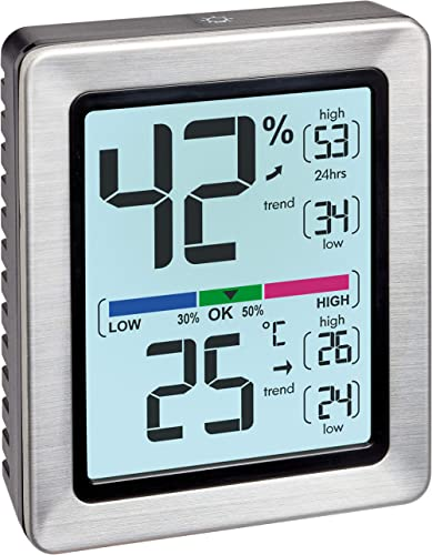 TFA Dostmann Exacto 30.5047.54 - Termómetro, higrómetro digital, humedad, temperatura, clima saludable residencial, e...