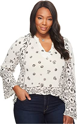 Lucky Brand - Plus Size Mix Geo Peasant Top