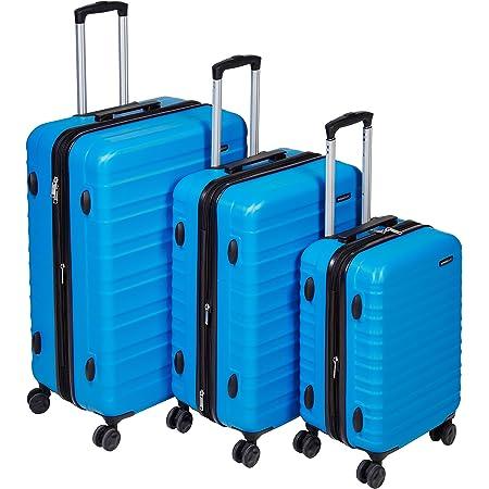 Amazon Basics Valise de voyage à roulettes pivotantes, Bleu clair, Lot de 3valises (55 cm, 68 cm, 78 cm)