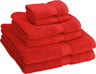 Superior 900 GSM Luxury Bathroom 6-Piece Towel Set, Made Long-Staple Combed Cotton, 2 Hotel & Spa Quality Washcloths, 2 Hand Towels, and 2 Bath Towels - Red