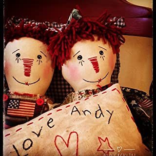 Primitive Doll Raggedy Dolls Ann Andy With Pillow Red Truck