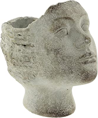 Distressed Cement Stone Statue Head Planter