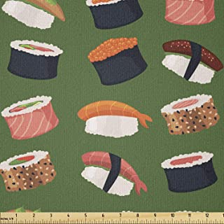 Ambesonne Sushi Fabric by The Yard, Seafood Themed Traditional Sushi Rolls Consisting of Rice Raw Fish Veggies in Seaweed,...