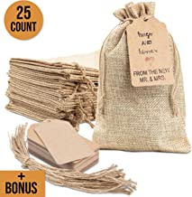 """25x Burlap Bags with Drawstring by Kona Kift! 5x7.5"""" Small Party Favor Gift Bags + Bonus Gift Tags & String! Brown Bags Bulk Small Size for Birthday Bag, Craft Bags Or Party Bags for Kids Birthday!"""