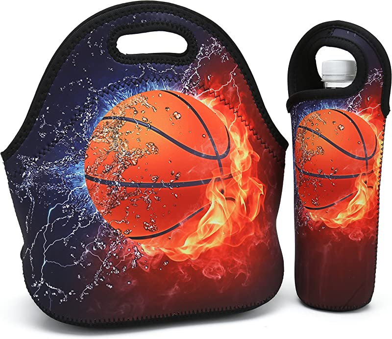 Neoprene Lunch Bag Thick Insulated Lunch Box Bag For Women Men Kids Includes Water Bottle Carrier For Snacks Lunch Lightweight Rugged Lunchbox For Travel Picnic School Office Fire Basketball