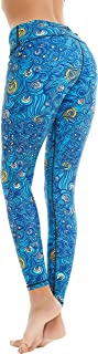 Women's Yoga Running Pants Printed Compression Leggings Workout Tights Hidden Pocket