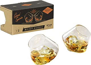 Gentlemen's Hardware Rock and Roll Rocking Whiskey Glasses, Set of 2