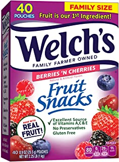 Welch's Fruit Snacks, Berries 'n Cherries, Gluten Free, Bulk Pack, 0.9 oz Individual Single Serve Bags (Pack of 40)