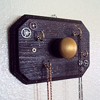Steampunk Jewelry Display Organizer - Industrial Chic Necklace Hanger - Decorative Steam Punk Key Holder - Small Wall Hanger (5 x 7 inches)